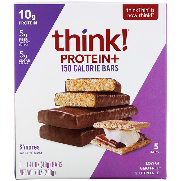 ThinkThin, Protein+ 150 Calorie Bars, Smore's, 5 Bars, 1.41 oz (40 g) Each