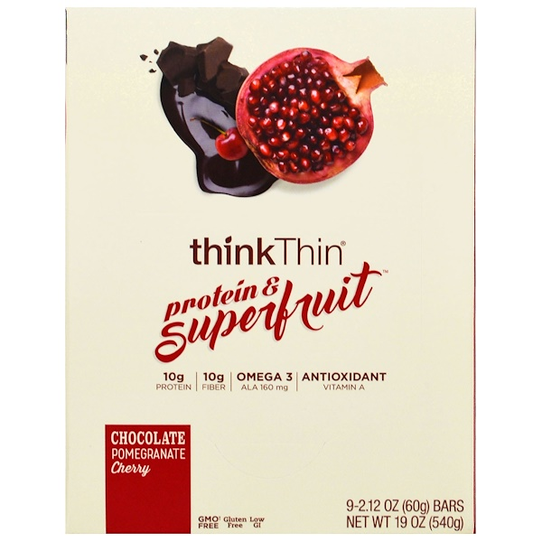 Think !, Protein & Superfruit, Chocolate Pomegranate Cherry, 9 Bars, 2.12 oz (60 g) Each (Discontinued Item)