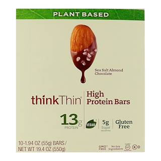 ThinkThin, High Protein Bars, Sea Salt Almond Chocolate, 10 Bars, 1.94 oz (55 g) Each