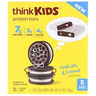 Купить ThinkThin ThinkKids, белковые батончики, печенье и сливки, 5 штук, по 28 г каждый