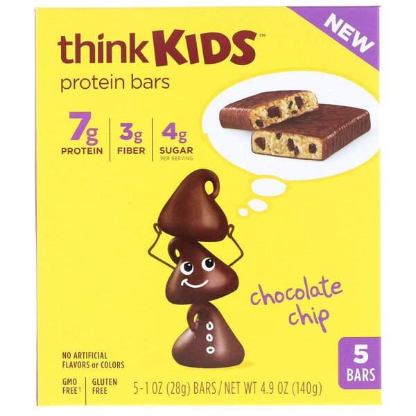 ThinkKids, Protein Bars, Chocolate Chip, 5 Bars, 1 oz (28 g) Each