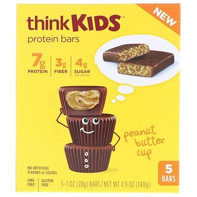 Купить ThinkThin ThinkKids, протеиновые батончики с арахисовым маслом, 5 штук, 1 унция (28 г) каждая