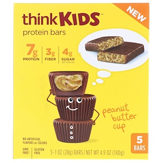 ThinkThin, ThinkKids, Protein Bars, Peanut Butter Cup, 5 Bars, 1 oz (28 g ) Each