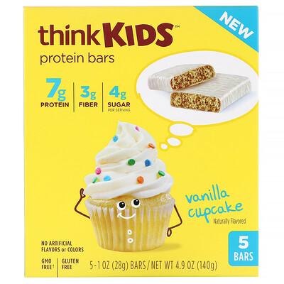 Купить ThinkThin ThinkKids, протеиновые батончики, ванильный кекс, 5штук по 28г (1унции) каждый