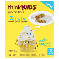 ThinkKids, Protein Bars, Vanilla Cupcake, 5 Bars, 1 oz (28 g ) Each - фото