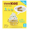 ThinkThin, ThinkKids, Protein Bars, Vanilla Cupcake, 5 Bars, 1 oz (28 g ) Each