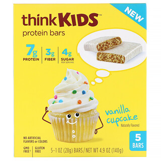 Think !, ThinkKids, Protein Bars, Vanilla Cupcake, 5 Bars, 1 oz (28 g ) Each