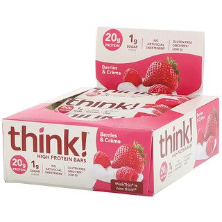 Think !, High Protein Bars, Berries & Creme, 10 Bars, 2.1 oz (60 g) Each