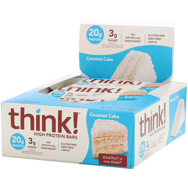 ThinkThin, High Protein Bars, Coconut Cake, 10 Bars, 2.1 oz (60 g) Each