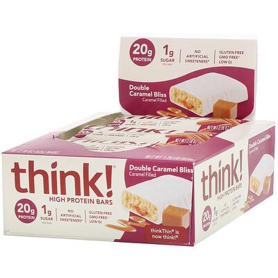 Купить ThinkThin Батончики с высоким содержанием белка, двойная карамель, 10батончиков по 62г (2, 18унции)