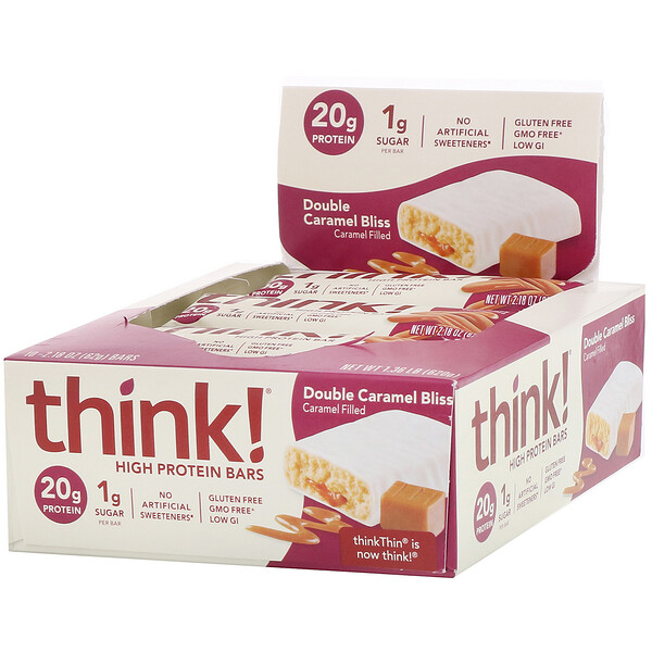 Think !, High Protein Bars, Double Caramel Bliss, 10 Bars, 2.18 oz (62 g) Each