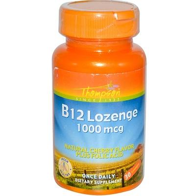 Фото - B12 таблетки для рассасывания, натуральный аромат вишни, 1000 мкг, 30 таблеток для рассасывания доктор тайсс анги септ лимон 24 табл для рассасывания