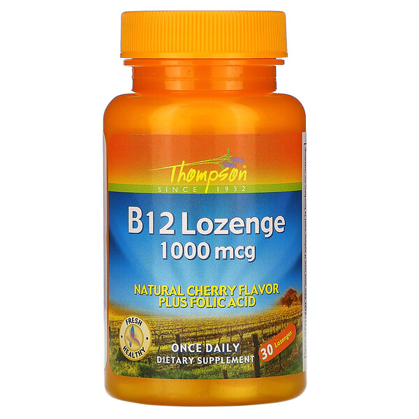 Thompson, B12 Lozenge, Natural Cherry Flavor, 1000 مكغ, 30 حبة
