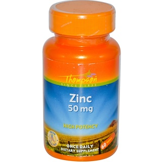 Thompson, Zinc, 50 mg, 60 Tablets