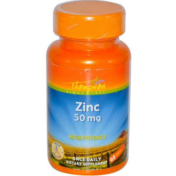 Thompson, Zinc, 50 mg, 60 Tabletas