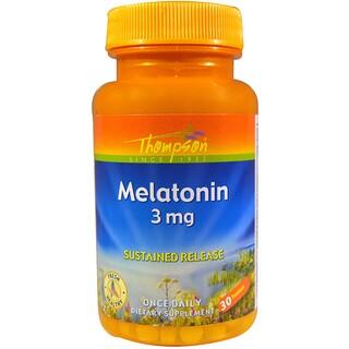 Thompson, メラトニン、3 mg、30錠