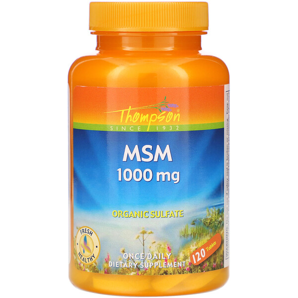Thompson, MSM, 1,000 mg, 120 Tablets