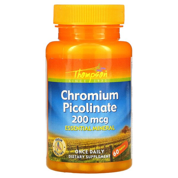 Thompson, Chromium Picolinate, 200 mcg, 60 Tablets