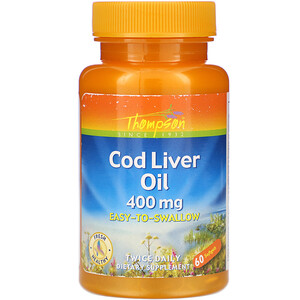Томпсон, Cod Liver Oil, 400 mg, 60 Softgels отзывы покупателей