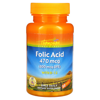 Thompson, Folic Acid with B-12, 800 mcg, 30 Tablets