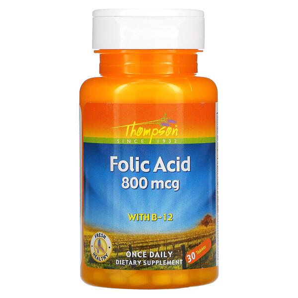 Folic Acid with B-12, 800 mcg, 30 Tablets