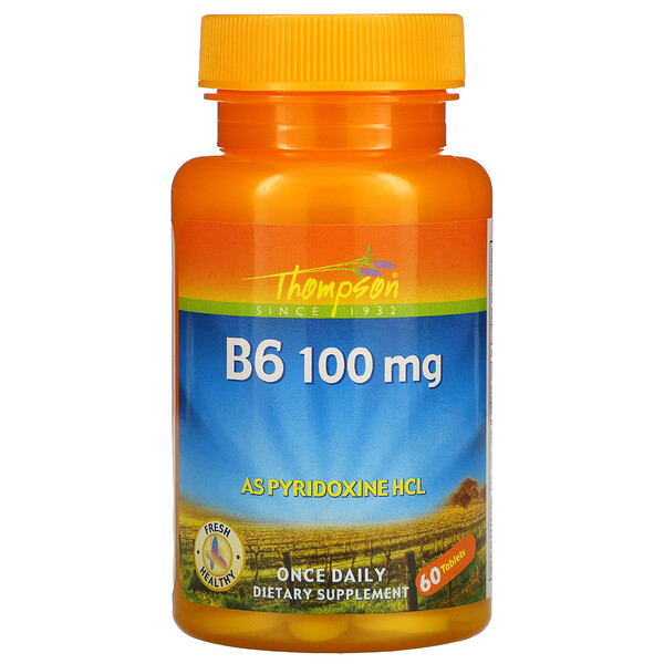B6, 100 mg, 60 Tablets