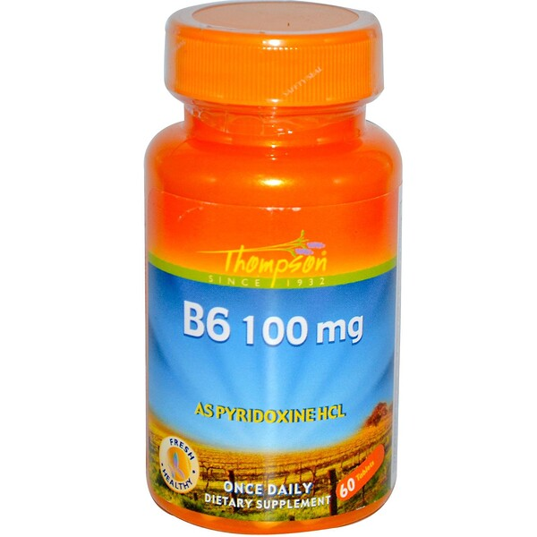 Thompson, B6, 100 mg, 60 Tablets