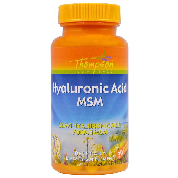Thompson, Hyaluronic Acid MSM, 30 Vegetarian Capsules