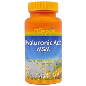 Томпсон, Hyaluronic Acid MSM, 30 Vegetarian Capsules отзывы покупателей