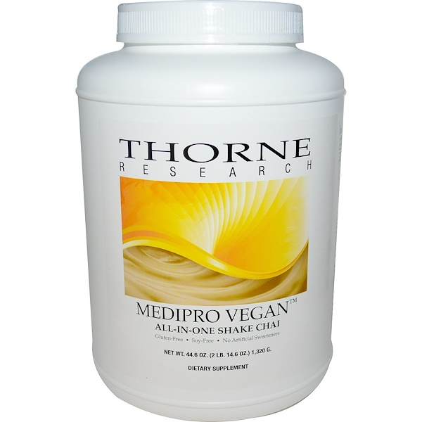 Thorne Research, Medipro Vegan, All-In-One Shake, Chai, 44.6 oz (1,320 g) (Discontinued Item)