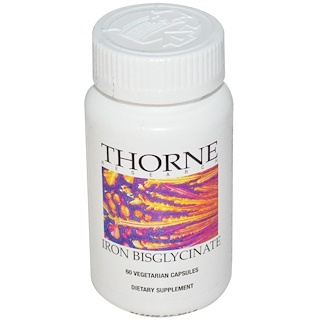 Thorne Research, Iron Bisglycinate, 60 Vegetarian Capsules