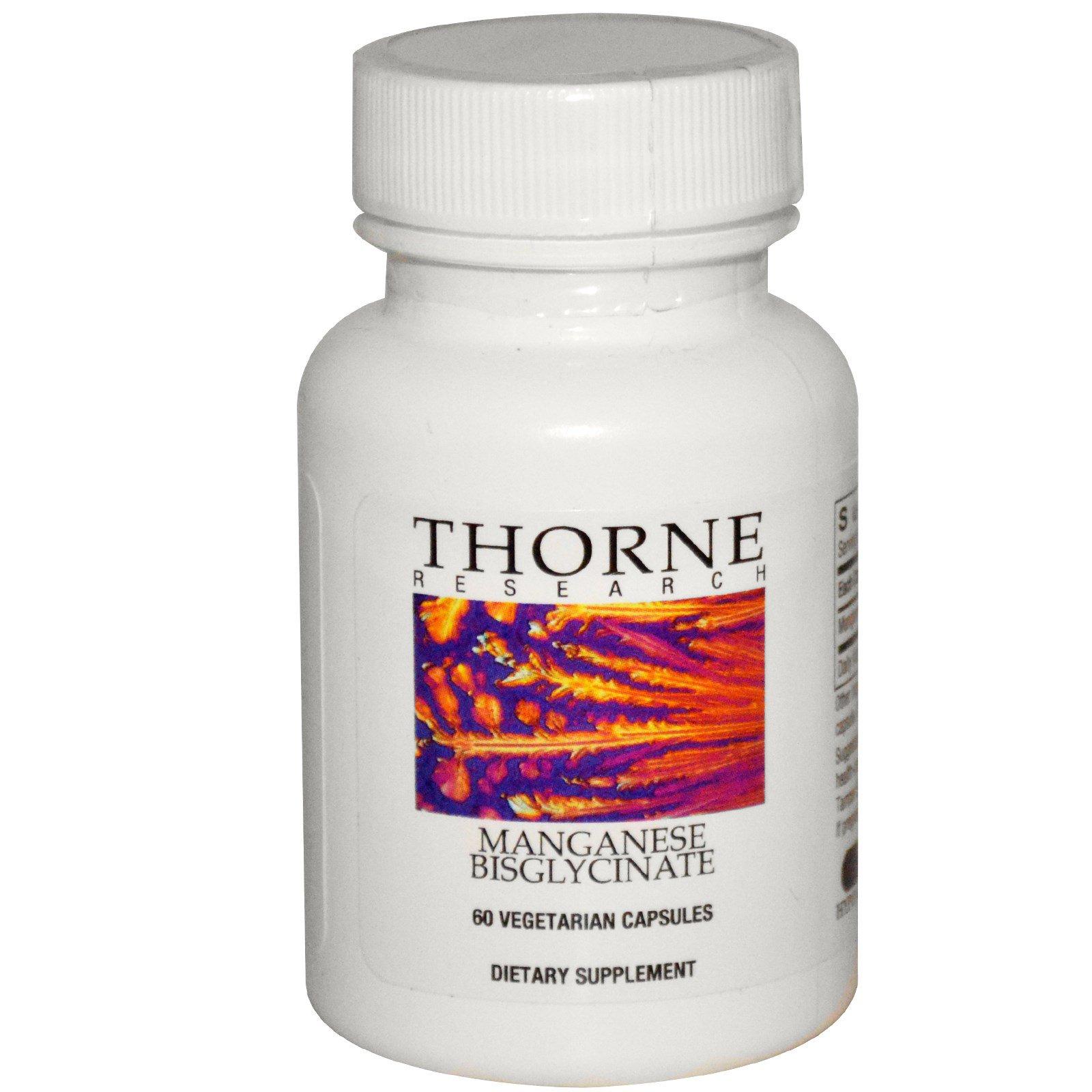 Thorne Research, Марганец бисглицинат, 60 растительных капсул