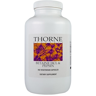 Thorne Research, Betaine HCL & Pepsin, 450 cápsulas vegetarianas