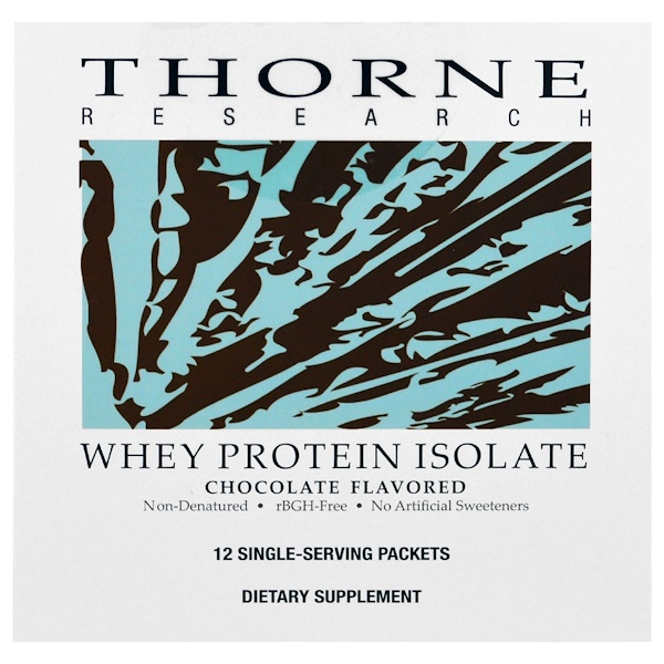 Thorne Research, Whey Protein Isolate, Chocolate Flavored, 12 Single Serving Packets, 29.2 g Each (Discontinued Item)