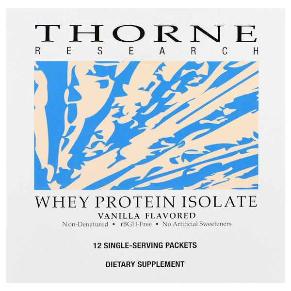 Thorne Research, Whey Protein Isolate, Vanilla Flavored, 12 Single Serving Packets, 26.9 g Each (Discontinued Item)