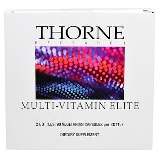 Thorne Research, マルチビタミンエリート、ボトル2本、ベジキャップ90錠