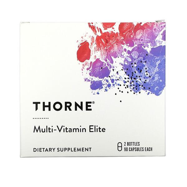 Thorne Research, Multi-Vitamin Elite, 2 בקבוקונים, 90 כמוסות בכל אחד