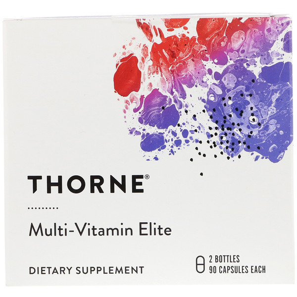 Thorne Research, Elite Multivitamínica, 2 Frascos, 90 Cápsulas Cada