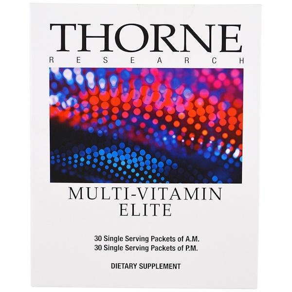 Thorne Research, Элитный мультивитаминный комплекс, 30 пакетиков для приема утром, 30 пакетиков для приема вечером (Discontinued Item)