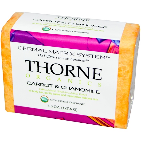 Thorne Research, Organics, Skin-Care Bar, Carrot & Chamomile, 4.5 oz (127.5 g) (Discontinued Item)