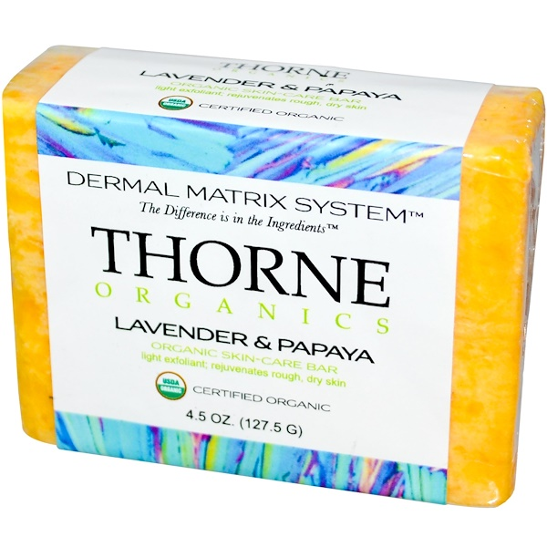 Thorne Research, Organics, Skin-Care Bar, Lavender & Papaya, 4.5 oz (127.5 g) (Discontinued Item)