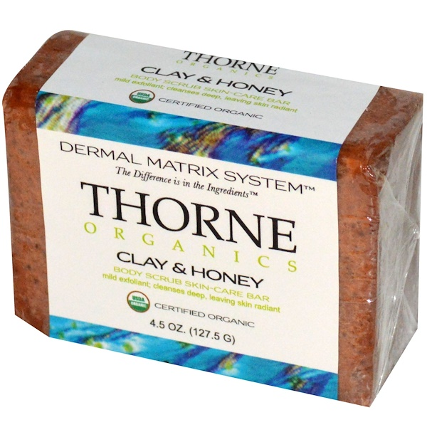 Thorne Research, Thorne Organics, Body Scrub Skin Care Bar, Clay & Honey, 4.5 oz (127.5 g) (Discontinued Item)