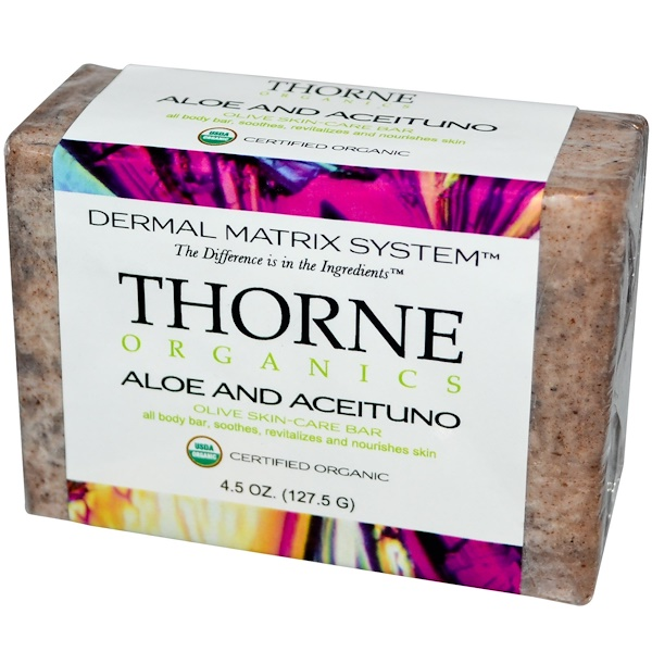 Thorne Research, Organics, Olive Skin-Care Bar, Aloe and Aceituno, 4.5 oz (127.5 g) (Discontinued Item)