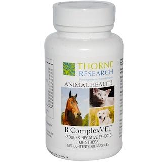 Thorne Research, 애니멀 헬스, 고양이 개 & 말을 위한 B 콤플렉스베트, 개, 60 캡슐