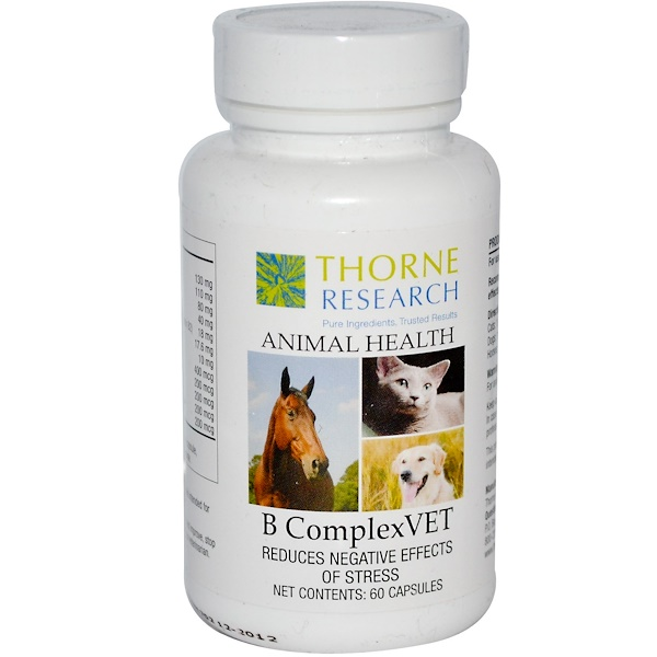 Thorne Research, Animal Health, B ComplexVet for Cats, Dogs & Horses, 60 Capsules