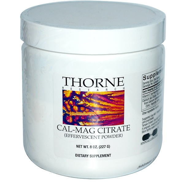 Thorne Research, Cal-Mag Citrate, Effervescent Powder, 8 oz (227 g)