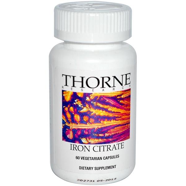 Thorne Research, Iron Citrate, 60 Veggie Caps (Discontinued Item)
