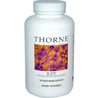 Thorne Research, B.P.P., Betaine / Pepsin / Pancreatin, 180 Vegetarian Capsules