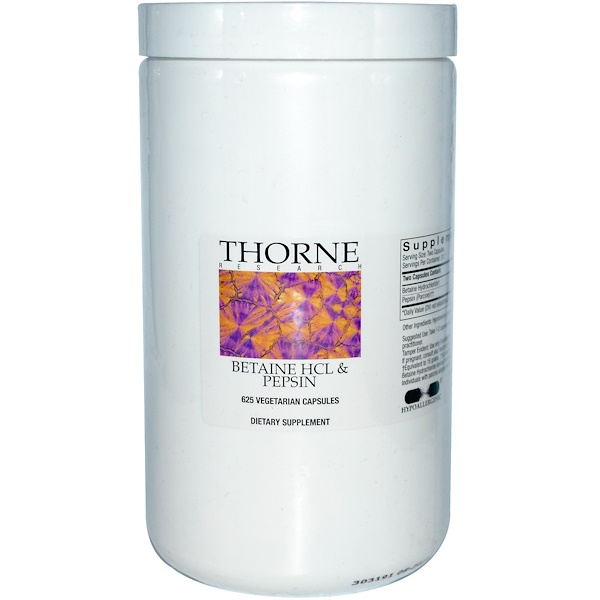 Thorne Research, Betaine HCL & Pepsin, 625 Veggie Caps (Discontinued Item)