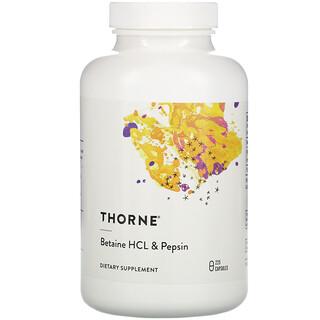 Thorne Research, HCl de betaína y pepsina, 225cápsulas